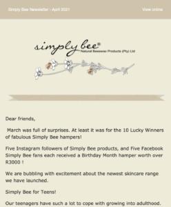 Simplybee newsletter
